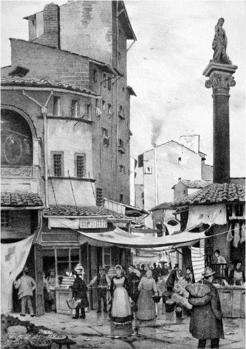 1850: the old market in Piazza della Repubblica. The column is still there!