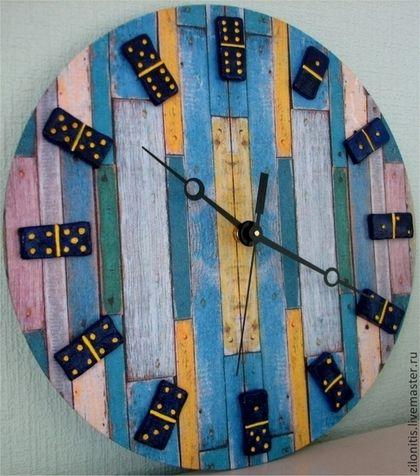 """Часы для дома ручной работы. Ярмарка Мастеров - ручная работа. Купить Часы настенные в технике декупаж  """"Домино"""". Handmade. глина"""