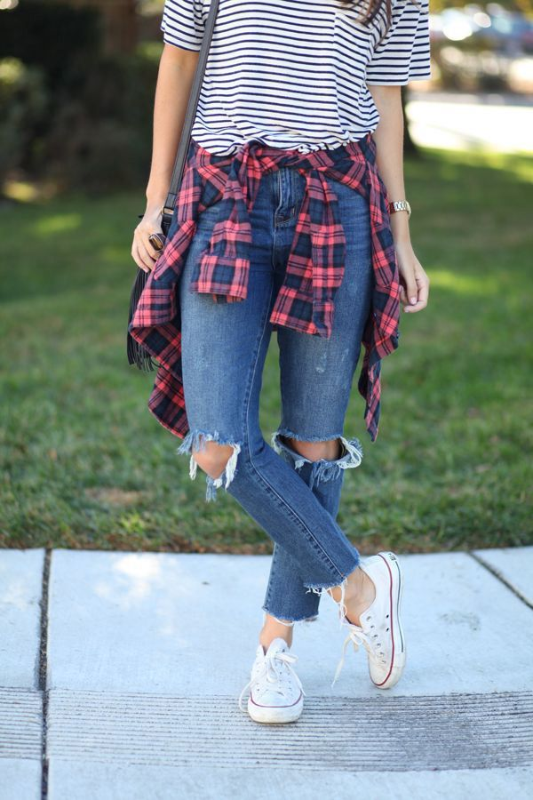 20 Style Tips On How To Wear Flannel Shirts This Fall. Broken jeans. White all star converse. Striped tees. Plaid shirt. Everyday look.