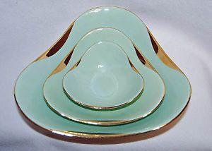 Vintage-Figgjo-Flint-3-Green-Porcelain-Nesting-Bowls-Norway-Mid-Century-Modern