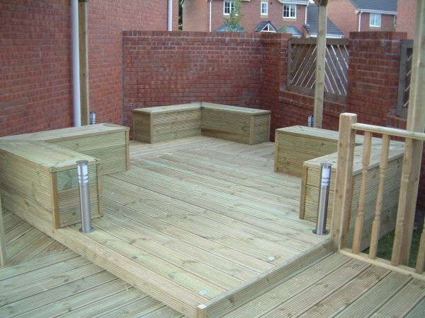 built in deck seating & storage