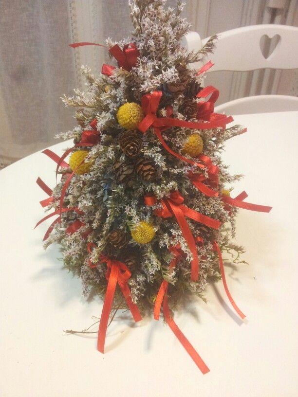 Albero di natale realizzato con statico tartarico, crespedia, ortensia, pigne e  nastro raso rosso