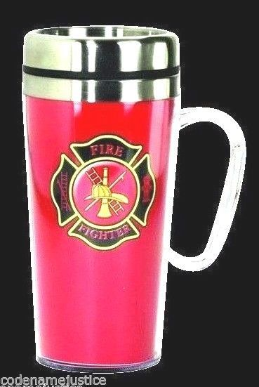16 oz. INSULATED TRAVEL MUG For FIREFIGHTERS - FIRE DEPT MALTESE CROSS TRAVEL MUG