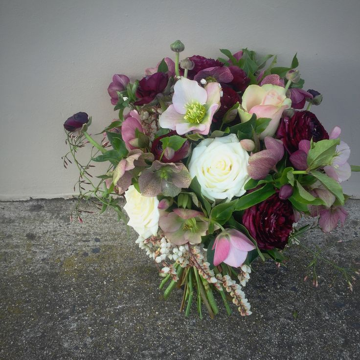 Deep plums and creams wedding bouquet