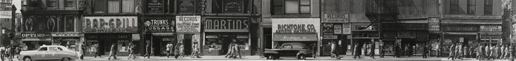 Sixth Avenue between 43rd and 44th Streets, New York. Todd Webb. 1948. I don't know how he took a panorama at that point in time, since they are still difficult on iPhones. I couldn't seem to find anything that said what kind of camera he used. The composition of this photo is beautiful. It perfectly depicts the beauty and atmosphere of New York City in the 1950s.