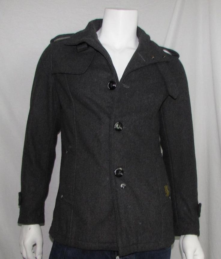 Men G-Star Raw Black Wool Blend Peacoat Military Sergeant Coat Slim Fit sz Large #GStarRaw #Peacoat