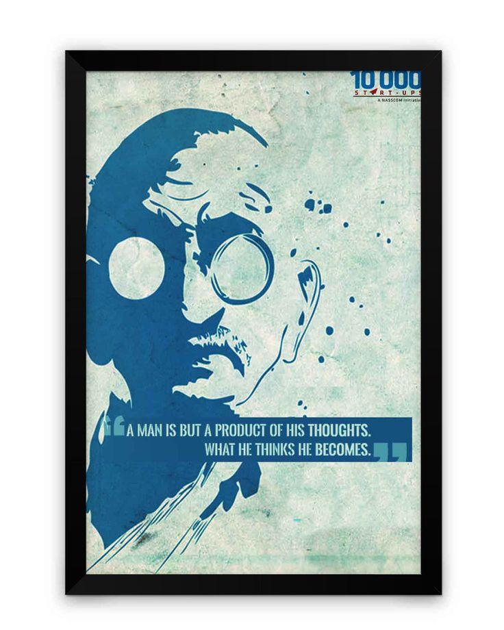 NASSCOM 10000 Startups 'Mahatma Gandhi' Quote Matte Framed Poster