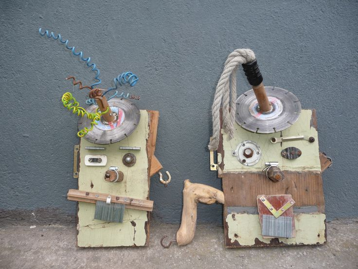 In August I made these two robots for my five-year old son and his best friend. They are great to make. Just find some old pieces of wood, metal things, electricity materials, combine them together and..look what you can make!