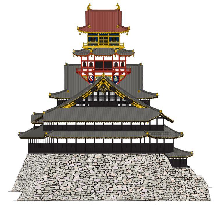 Azuchi Castle:安土城天主復元立面図 ©復元・作図:佐藤大規(三浦研究室卒)