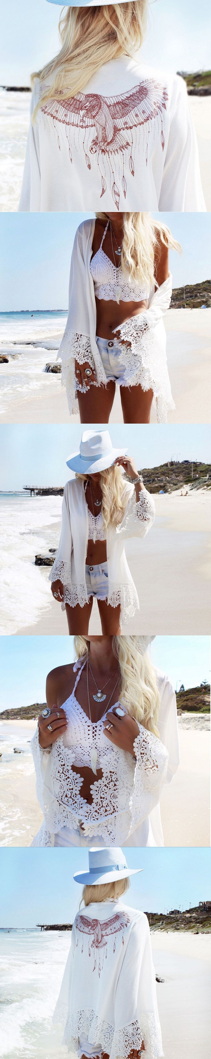 Shermie beach cover up pareo Behind the printed Lace sleeves sexy beach dresses swimsuit bikini woman Swimsuit robe de plage