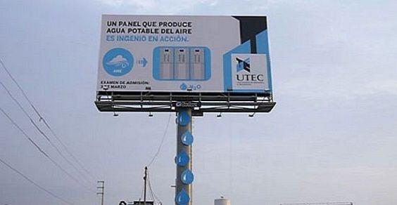 Il cartellone pubblicitario che produce acqua potabile dal nulla