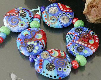 Handmade lampwork beads  set      Lunatic And Iron Blue      artisan glass         set          made by Silke Buechler