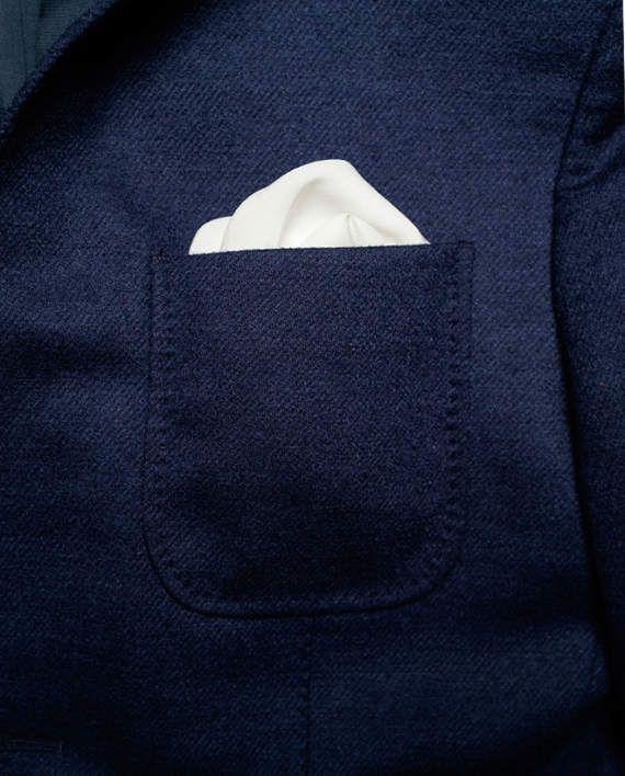 Silk Hankie White Pocket Square Suit Handkerchief Elegant