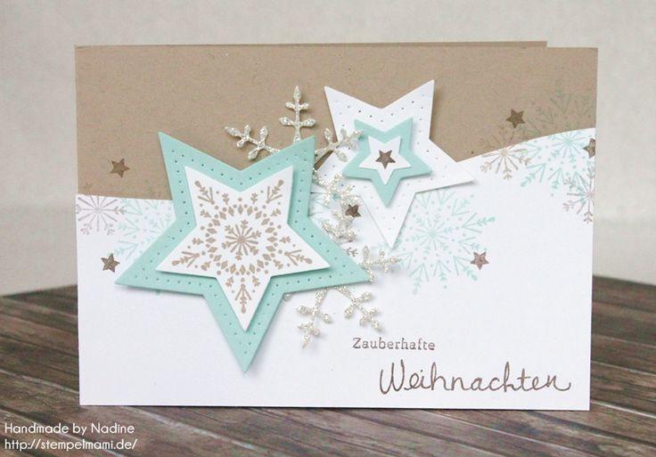 Stampin Up, Weihnachtskarte, Christmas Card, Karte, Card, Adventskalender, Stempelset Wünsche zum Fest, Stempelset Many Merry Stars, Framelits Stern Kollektion, #stampinup #weihnachtskarte #christmascard #card #karte #stempelmami #adventskalender