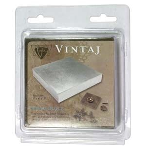 "Vintaj Steel Bench Block - 4 x 4 x .5"" Solid steel Vintaj (tm) Bench block - measures 4"" x 4"" x .5"".  Ideal surface for letter imprinting, riveting, texturing and hammering findings to create a distressed look."