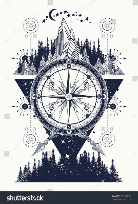 Mountains and antique compass tattoo art. Adventure, travel, outdoors, symbol. C… – T