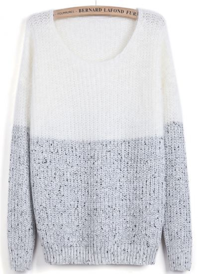 White Contrast Grey Long Sleeve Mohair Sweater