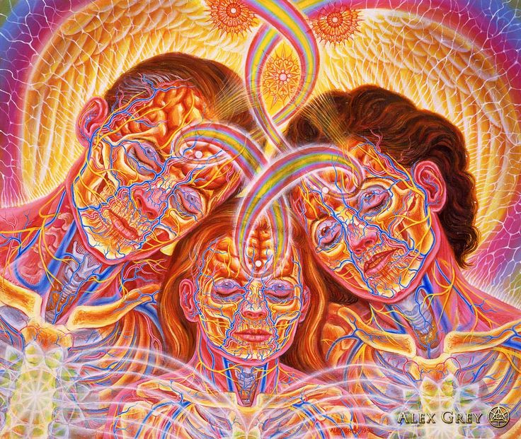 """Family"" by Alex Grey 1996, oil on linen, 25 x 30 in.  Sometimes when Allyson, Zena, and I pray we bow our heads together. At that time I feel an energy weaving through us, binding us together. When our friend John Lloyd saw this painting he said, ""So many times the family bond of love is broken, it's affirming to see it unbroken in your painting."""