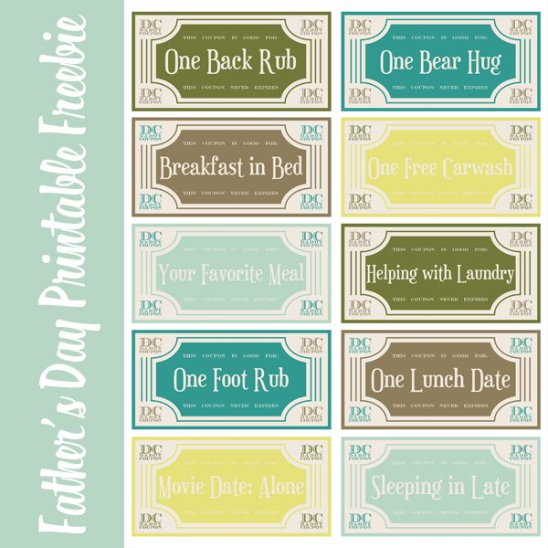 Coupon Binder Printable Templates Free | Mommyish.net » Fatheru0027s Day  Printable  Lunch Voucher Template
