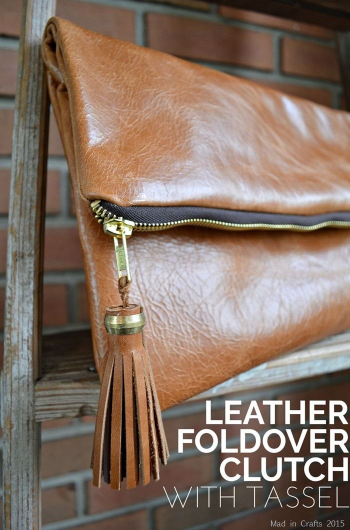 DIY Leather Foldover Clutch with Tassel - Mad in Crafts