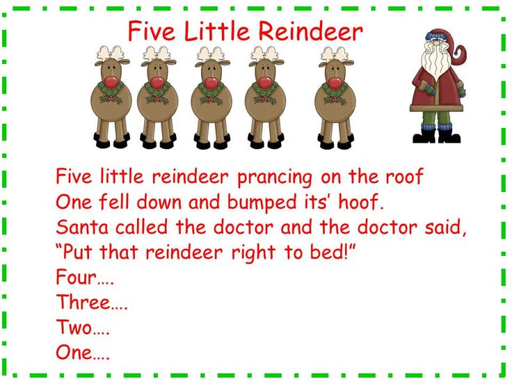 Classroom Freebies: Five Little Reindeer song and song chart