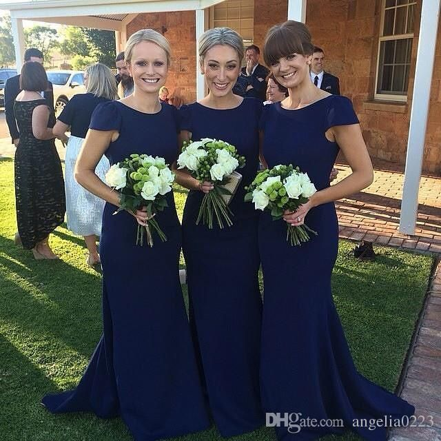 2016 Modest Navy Blue Mermaid Bridesmaid Dresses Simple Jewel Short Sleeves Long Floor Maid Of Honor Dresses Custom Made Wedding Party Gown Online with $132.99/Piece on Angelia0223's Store | DHgate.com