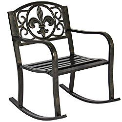 Best Choice Products Patio Metal Rocking Chair Porch Seat Deck Outdoor Backyard Glider Rocker