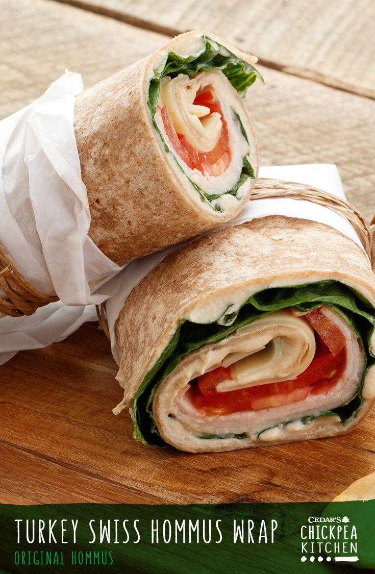 This Turkey Swiss Hommus Wrap recipe is a healthy yet luscious option for lunch or a quick and easy dinner. It features just five ingredients: Swiss cheese, turkey, Cedar's Original Hommus, lettuce and tomato rolled up in a Cedar's Wheat Wrap!