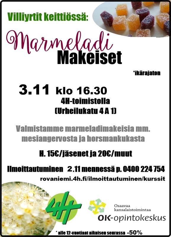 Tule tekemään jouluksi marmeladimakeisia 2.11! - Rovaniemen4 H-yhdistys
