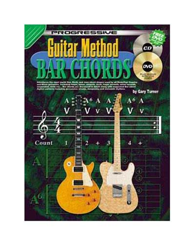 Guitar Method Bar Chords - CD & DVD CP69067 - BC Wholesalers Introduces useful Bar, Rock and Jazz chord shapes used by all Rock, Pop, Country and Blues guitarist. Bar chords are discussed in detail along with suggested Bar chord rhythm patterns including percussive strums, dampening etc.