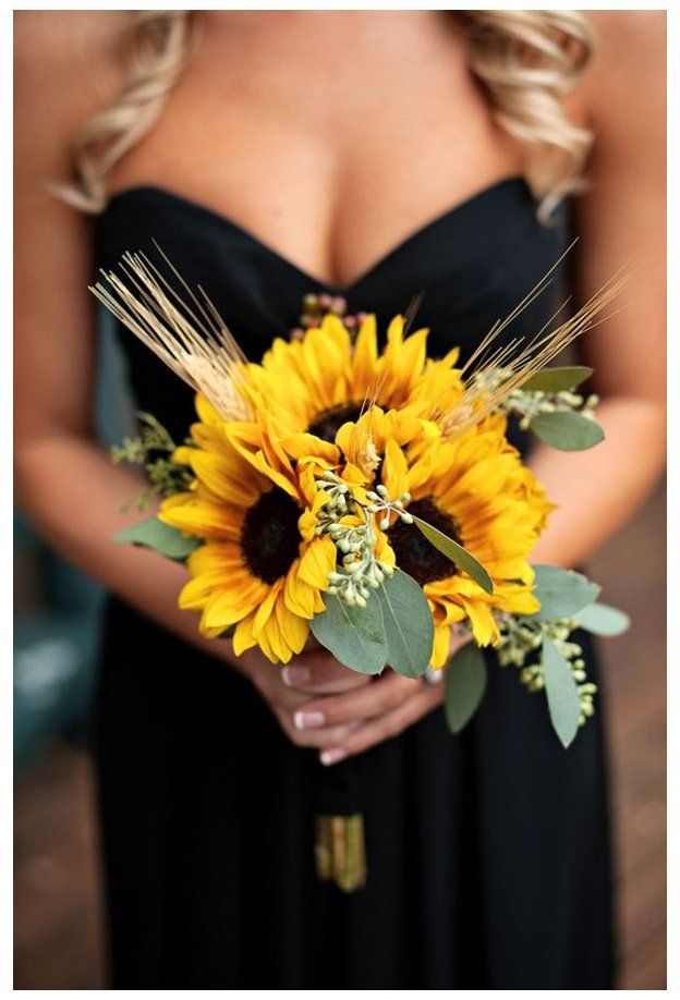 47 Sunflower Wedding Ideas For 2016 Black Bridesmaid Dresses With Sunflowers Although It In 2020 Sunflower Wedding Bouquet Summer Wedding Colors Sunflower Wedding