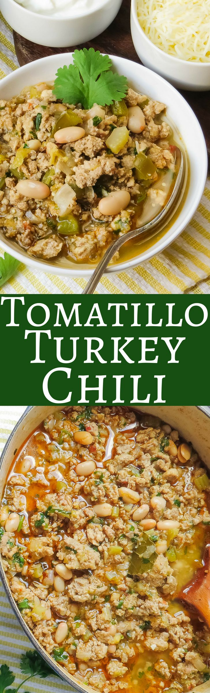 If you want a white bean chili recipe, this Tomatillo Turkey Chili is has green chiles, canned beans and ground turkey.  It's super easy to make and perfect game for game day snacking!