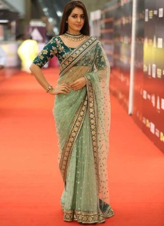 Sea Green Embroidery Sequin Work Net Designer Party Wear Fancy Sarees http://www.angelnx.com/bestseller