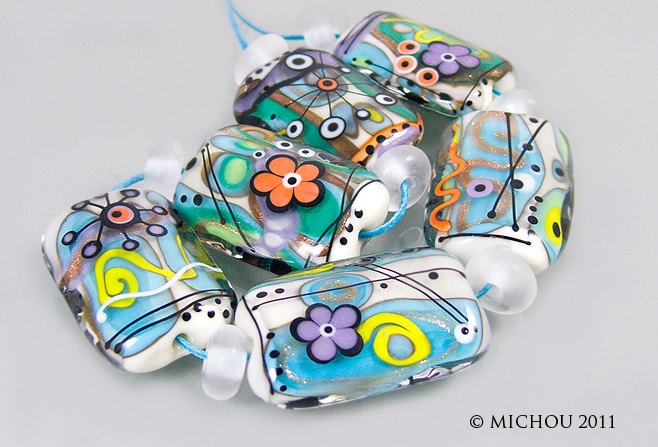 These are sold but so cool! Michou   Cosmic Comics  set  glass beads  by michoudesign on Etsy, $229.00