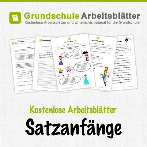 Kostenlose Arbeitsblätter und Unterrichtsmaterial für den Deutsch-Unterricht zum Thema Satzanfänge in der Grundschule.