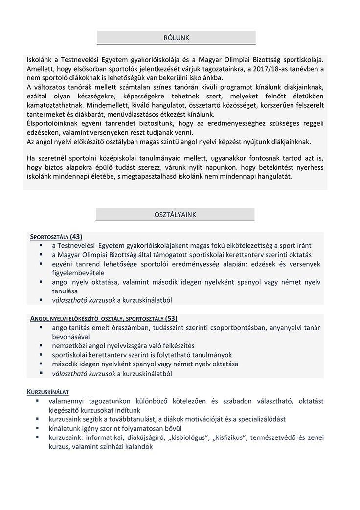 Gimnáziumi felvételi 2017/18-as tanév | Testnevelési Egyetem Gyakorló Sportiskolai Általános Iskola és Gimnázium