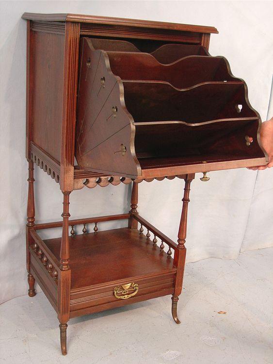 Walnut Vctorian sheet music cabinet