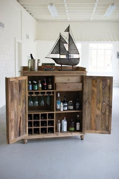 Reclaimed Wood Bar Cabinet industrial-kitchen-islands-and-kitchen-carts