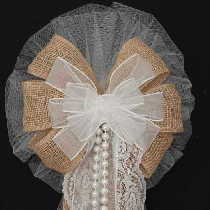Burlap Lace Pearls White Rustic Wedding Bows - Package Perfect Bows - 2