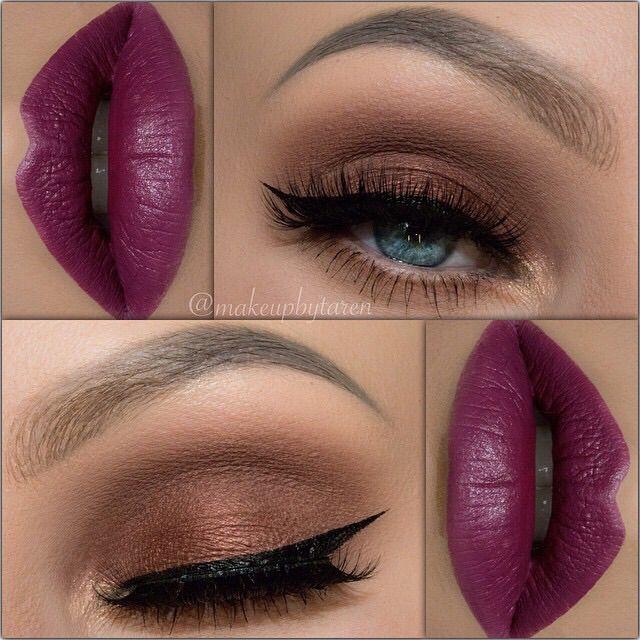 Brown/bronze e/s & fuchsia(I guess...) lips