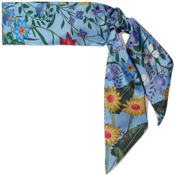 Gucci Floral-print silk-twill scarf ($165) ❤ liked on Polyvore featuring accessories, scarves, blue, silk twill scarves, floral scarves, floral shawl, gucci and wrap scarves
