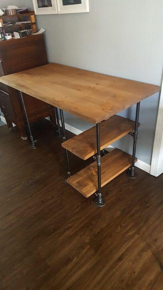 Pipe Desk mit Regalen, Rustic Desk, Industrial Pipe Desk, Schreibtisch aus Holz, Schreibtisch aus Altholz, Schreibtisch, Schreibtisch aus Holz und Stahl