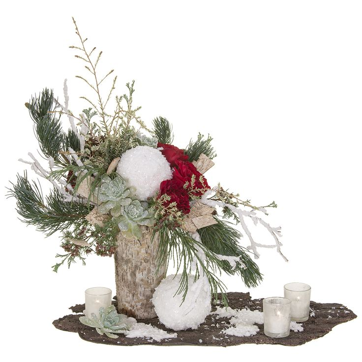 Snowy wonderful!  Fresh roses, fragrant evergreens and candles add warmth to your holiday decor.