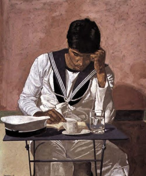 Sailor Reading in a Cafe by Yannis Tsarouchis (1910-1989)