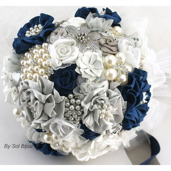 Brooch Bouquet Navy Blue White Gray Silver Wedding Jeweled Bridal... ($350)