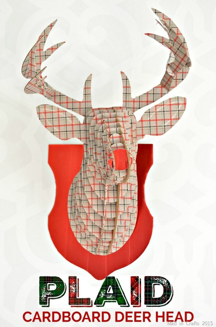 Plaid Cardboard Deer Head Tutorial