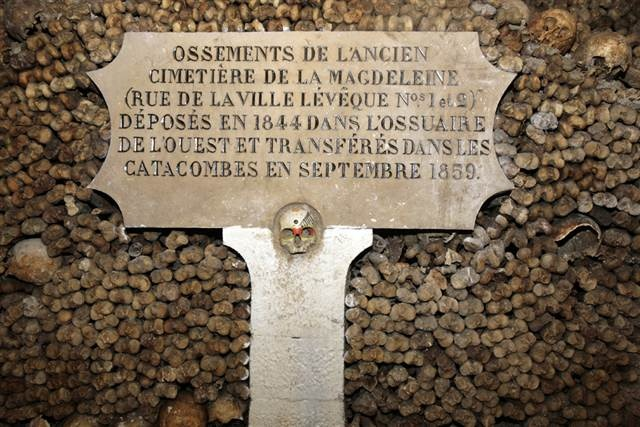 Paris Catacombs    In the 1800s, Paris's cemeteries were coming dangerously close to being filled, so some bodies were moved to tunnels that had been dug beneath the city by workers quarrying for building materials. Bones and skulls are stacked up throughout the Catacombs, and visitors have reported strange voices.