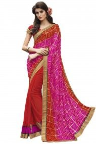 Bandhani Print and Georgette Party Wear Half N Half Saree In Pink and Red Colour