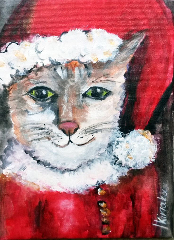 Original painting - Santa Cat - Acrylic on canvas - 15 x 20 cm by PapeMoe on Etsy