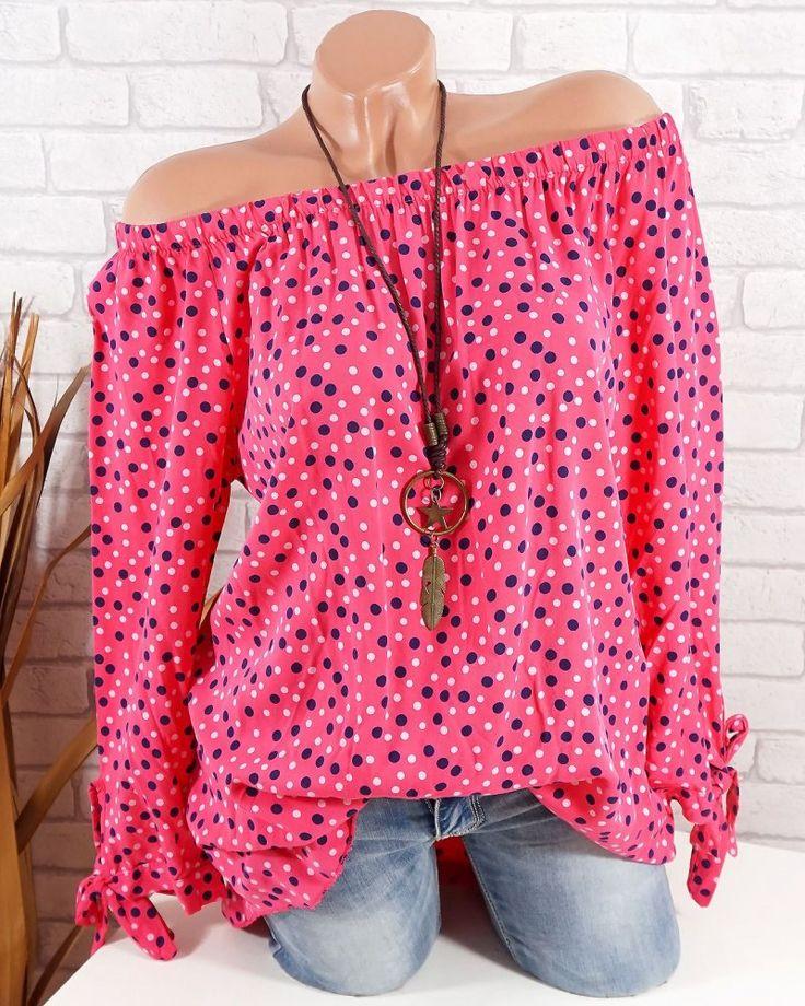 Damen Tunika Bluse mit Punkten schulterfrei off shoulder #fashion #mode #blogger #italy
